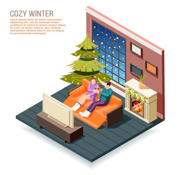 벽난로와 크리스마스 트리 그림 근처 홈 인테리어에 남성과 여성의 문자로 아늑한 겨울 아이소 메트릭 구성