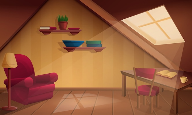 Cozy wooden attic room cartoon, illustration