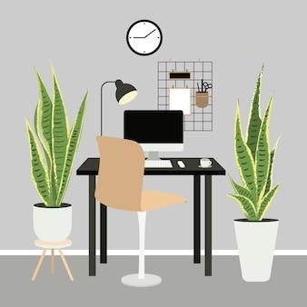 가정 식물이있는 아늑한 직장. 도시 스타일 원격 근무, 프리랜서, 재택 근무.