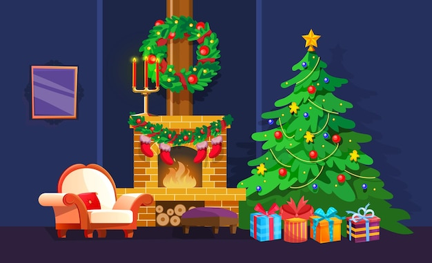 Cozy xmas domestic interior with decorated christmas tree and fireplace. comfortable new years