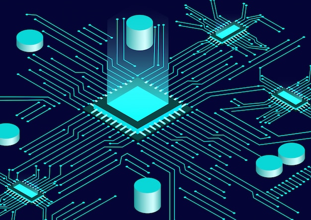 Cpu chip and circuit board isometric background