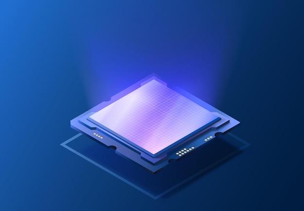 Изометрическая иллюстрация микросхемы процессора компонент процессора компьютера концепция полупроводниковой технологии