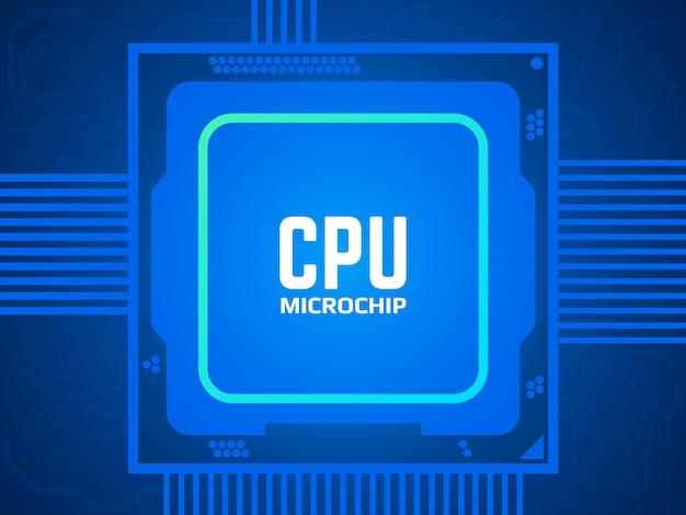 회로 기판의 cpu 칩. 블루 마이크로 프로세서 및 마더 보드.