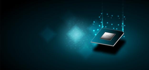 量子コンピューター、大規模データ処理、データベースの概念。cpuアイソメトリック。中央コンピュータープロセッサcpuコンセプト。デジタルチップ青色の背景にライト付きの未来的なマイクロチッププロセッサ。