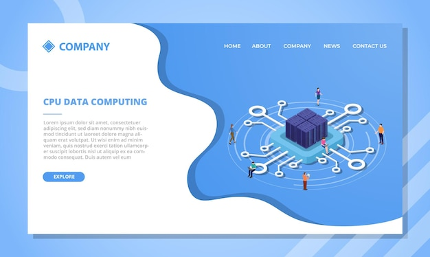 Cpu data computing or processing concept for website template or landing homepage with isometric style vector