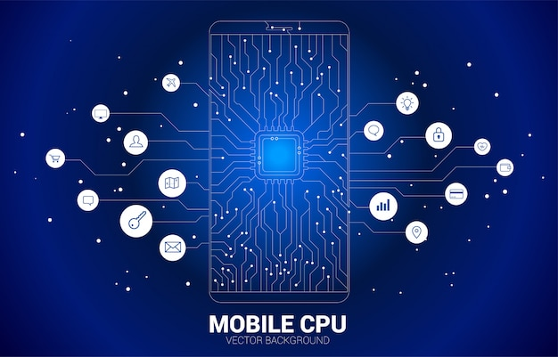 Cpu dot connect line circuit board style mobile phone icon.