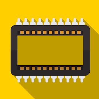 Cpu 평면 아이콘 일러스트 절연된 벡터 기호
