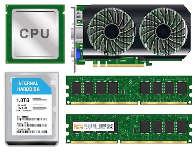 Cpu графическая карта harddisk ram на белом фоне