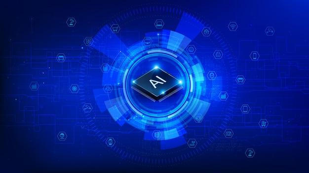 未来のテクノロジーcpuチップセットと暗い青色の背景上のiot