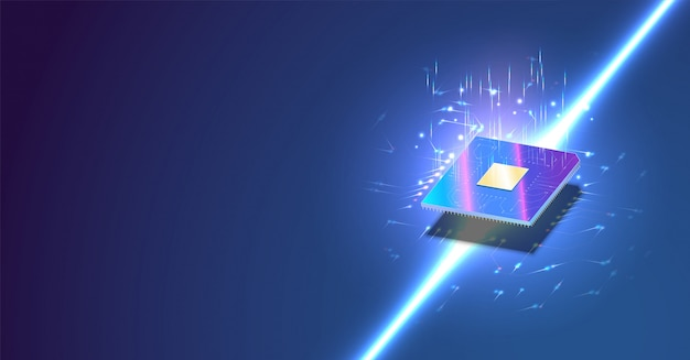 Cpu isometric banner. control computer processors cpu concept.