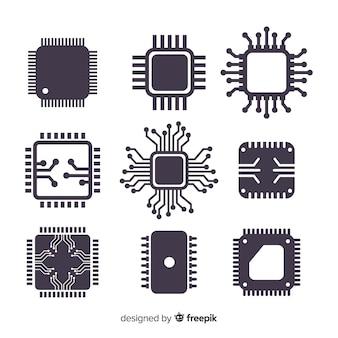 Современная коллекция cpu с плоским дизайном