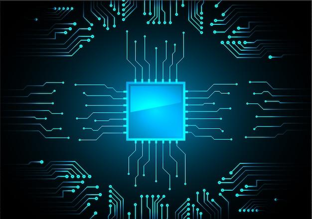 ブルーcpuサイバー回路の将来の技術コンセプト背景