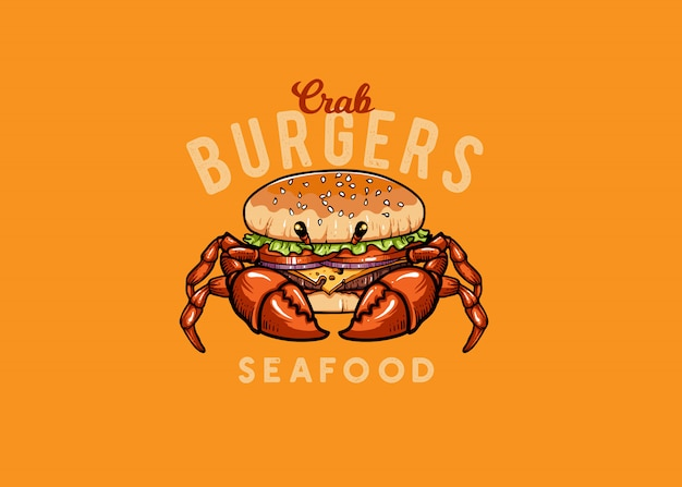 Crab and burger seafood mascot