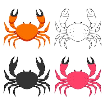 Crab cartoon icons set isolated on a white background.