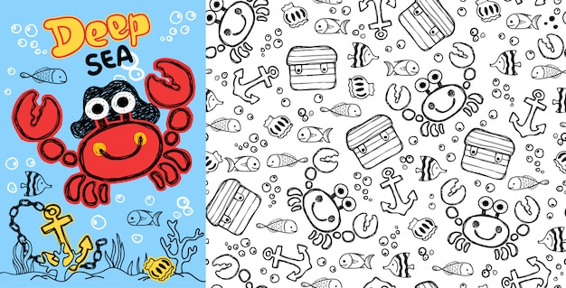 Crab cartoon with fishes on seamless pattern
