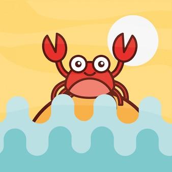 Crab crustacean sea life cartoon