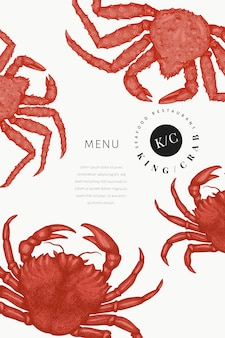 Crab design template. engraved style crustacean.