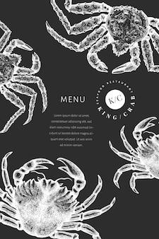 Crab design template. hand drawn   seafood illustration on chalk board. engraved style crustacean. vintage lobster banner.