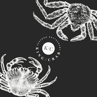 Crab design template. hand drawn  seafood illustration on chalk board. engraved style crustacean. vintage lobster