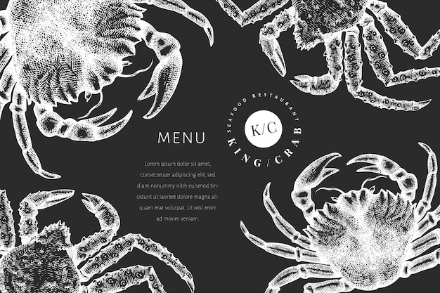 Crab design template. hand drawn  seafood illustration on chalk board. engraved style crustacean. vintage lobster .
