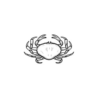 Краб рисованной наброски каракули значок. векторная иллюстрация эскиз здоровых морепродуктов - краб для печати, интернета, мобильных устройств и инфографики, изолированные на белом фоне.