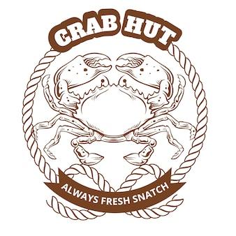 Crab hut emblem. vector illustration