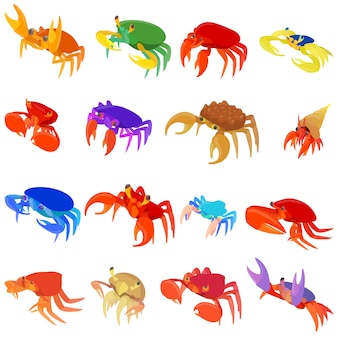 Crab icons set in cartoon style