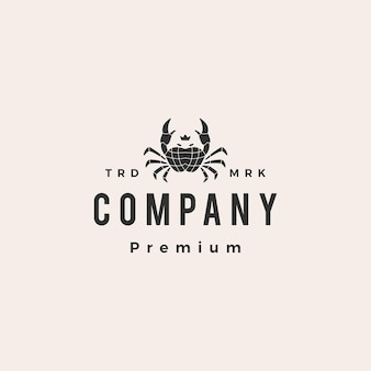 Crab king hipster vintage logo