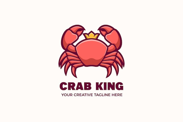 Шаблон логотипа персонажа талисмана из морепродуктов crab king