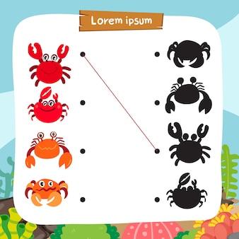 Crab matching game vector design