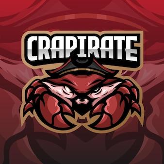 Crab pirate esport logo design