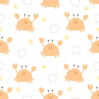 Crab and shell seamless pattern background