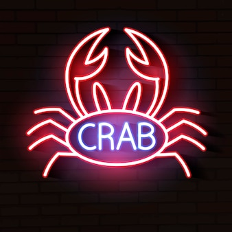 Crab sign with neon light glowing vector illustration