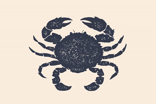 Crab silhouette. concept  hand drawn.  black silhouette