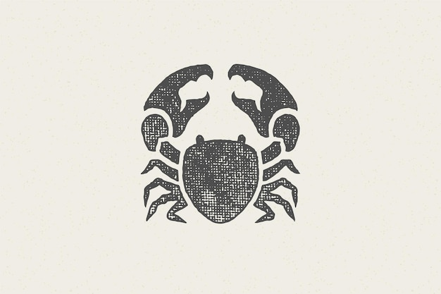 Crab silhouette for logo and emblem design hand drawn stamp effect