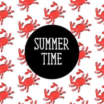 Crab sketch seamless pattern. summer time