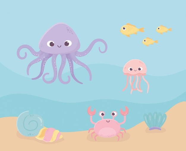 Crab snail jellyfish octopus fishes sand life cartoon under the sea