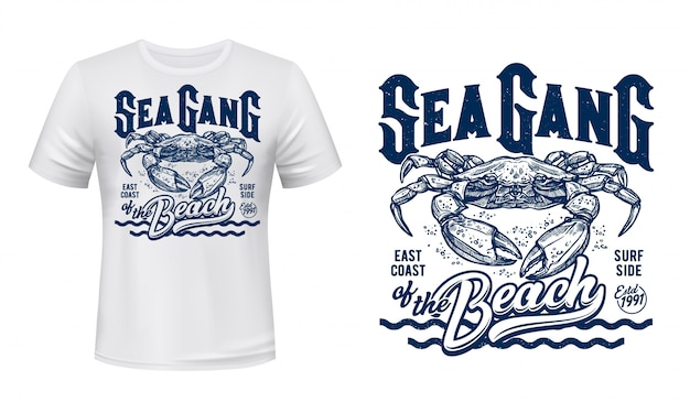 Crab t-shirt print mockup, surfing club waves