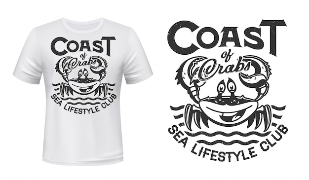 Crab t-shirt print , sea waves, marine club or fishing,  grunge . smiling crab with claws on ocean waves sign for coast beach surfing or ocean lifestyle team t shirt print