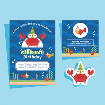 Crab theme birthday invitation