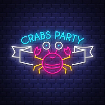 Crabs party. neon sign lettering