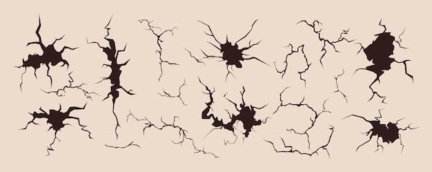 Crack, broken surface illustration set.