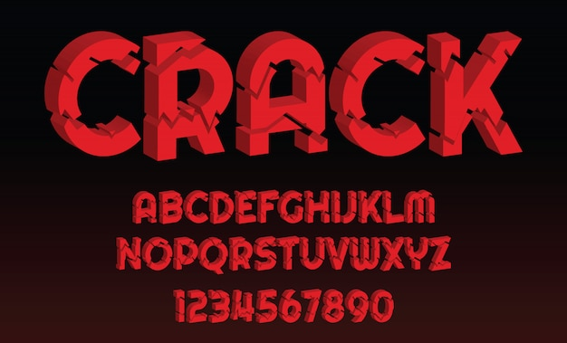 Crack font design letters and numbers alphabet