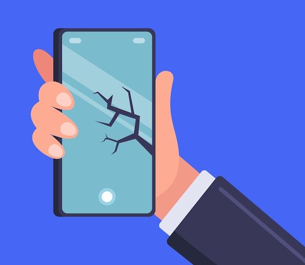 Трещина на смартфоне на руке