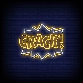 Crack неоновые вывески стиль текста