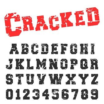 Cracked alphabet font