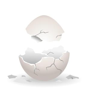 ひびの入った卵。卵殻クラッキング段階。卵殻が壊れたリアルな鶏卵。壊れやすい壊れた卵のデザイン要素。