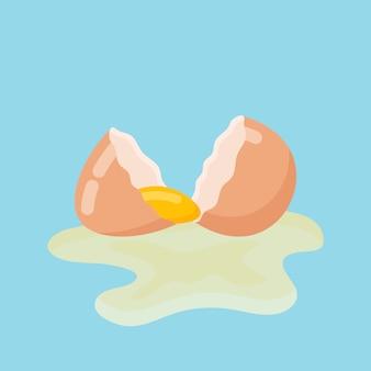 殻と卵黄と割れた卵。