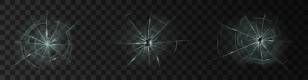 Cracked glass. broken window, shattered glassy surface and break windshield glass texture realistic 3d set or icons on transparent background. vector illustration
