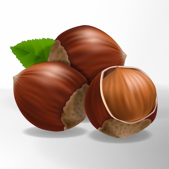 Cracked hazelnut 3d illustration with leaf